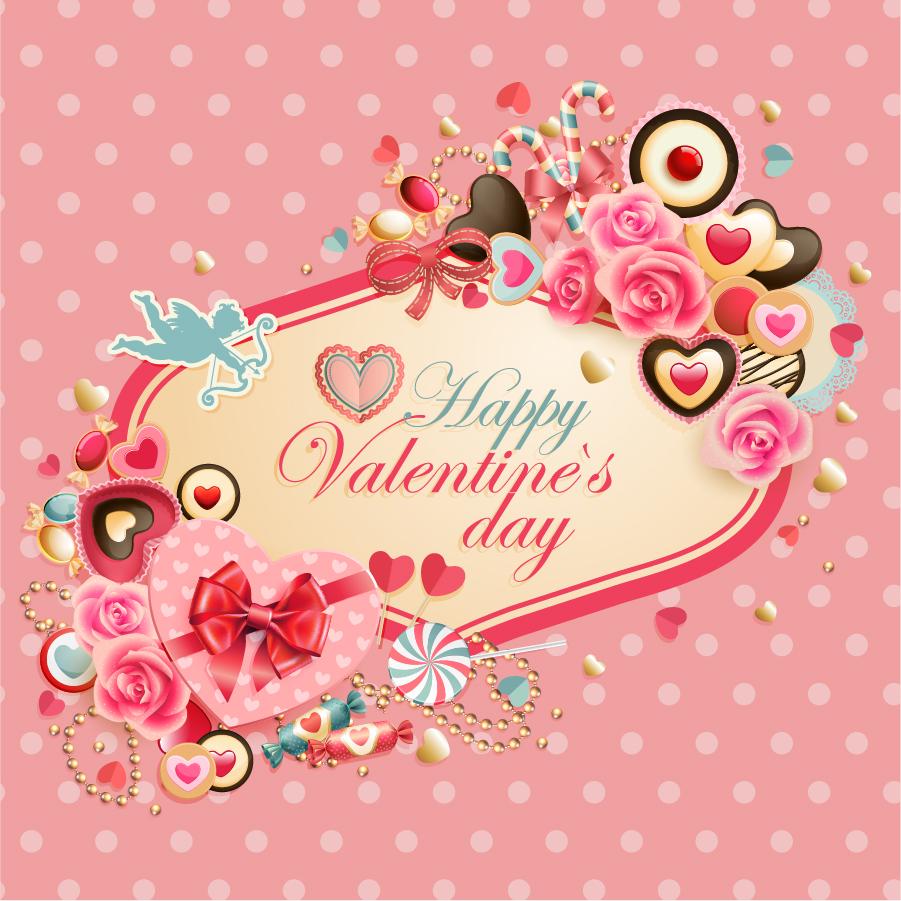 バレンタインデーを飾る背景 Valentine's Day love vector material イラスト素材
