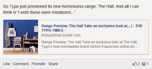 Facebook post pointing to Typo's homeware range launch blog post.