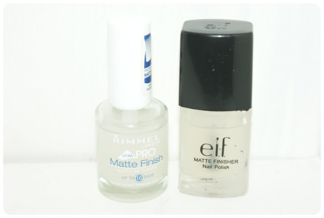 Rimmel Matte Finish nail polish, ELF Matte finisher nail polish