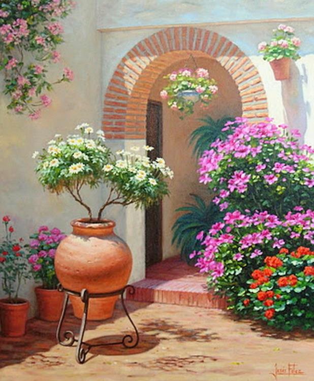 Cuadros modernos pinturas y dibujos paisajes de patios - Imagenes de patios andaluces ...