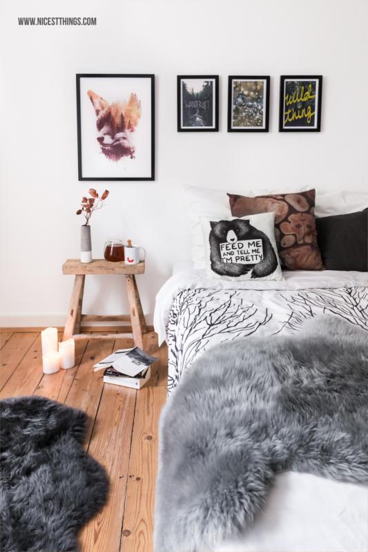 Schlafzimmer herbstdeko Winterdeko gemütlich Fell #schlafzimmer #herbstdeko #winterdeko