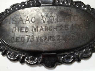 Coffin Plate of Isaac Vollck 1831-1904