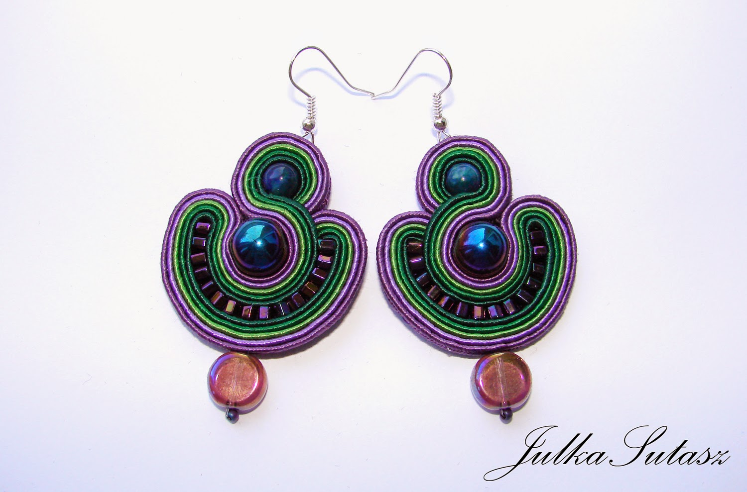 One of my favourite colour combination *Purple & green* Earrings
