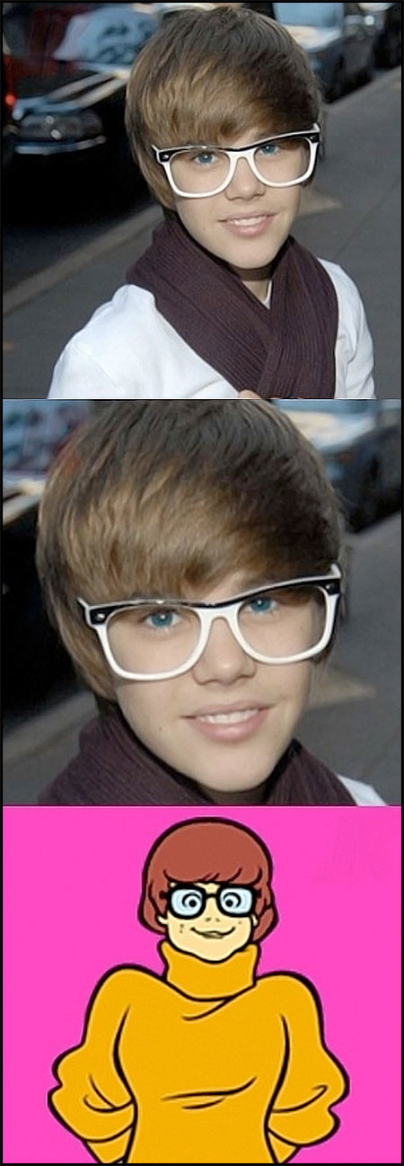 Justin Bieber de óculos: Velma