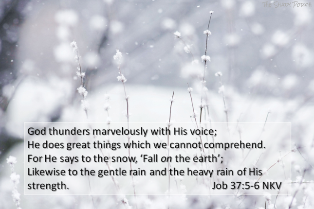 Snowy Scene - Job 37:5-6 God thunders marvelously with His voice; He does great things which we cannot comprehend.
