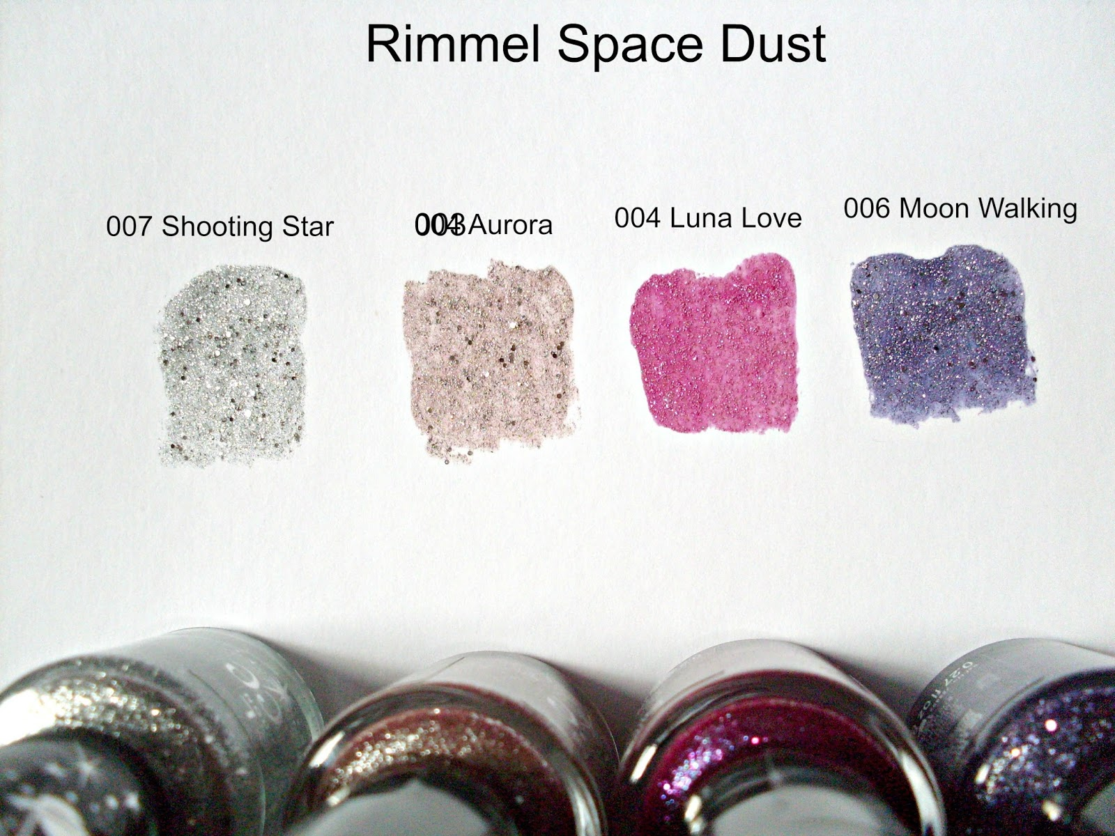 Swatches of Rimmel Space Dusts in 007 Shooting Star, 003 Aurora,  004 Luna Love and 006 Moon Walking