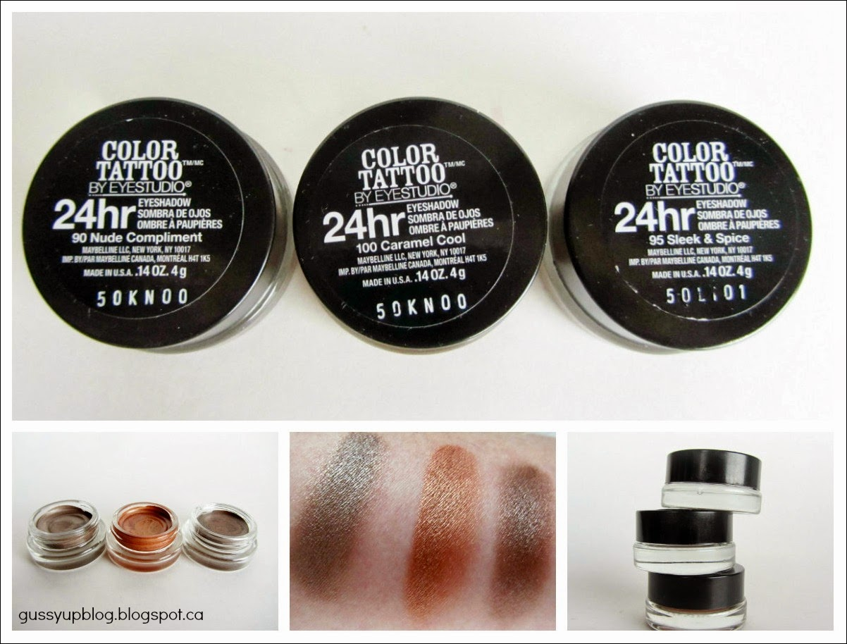 Spring 2014 Limited Edition Maybelline Color Tattoo 24 Hour Eyeshadow,Nude Compliment, Sleek & Spice and Caramel Cool, Review and Swatches