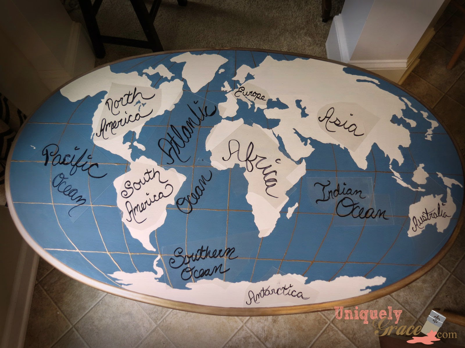 Happy earth day oak table flip to world map statement piece the bottom legs have a gold dip dyed look to them with old gold shimmer dry brushed onto the vintage sue blue base i began this step by painting cali taupe gumiabroncs Gallery