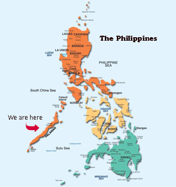 This Is A Map Of The Philippines With An Arrow Denoting Palawan.