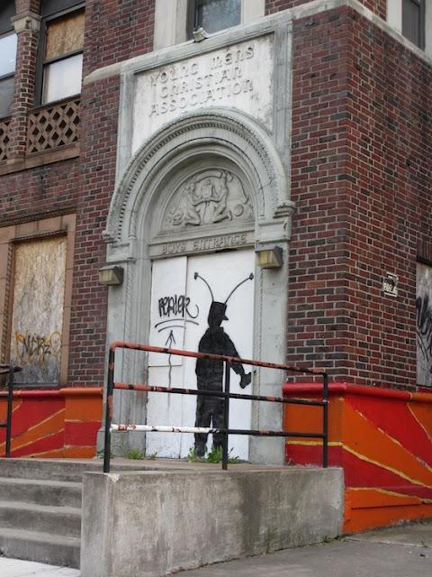 Silhouette Street Art Detroit YMCA