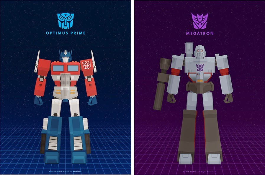 New York Comic Con 2014 Exclusive Transformers Generation 1 Print Set by Thong Le (Weaponix) - Optimus Prime & Megatron