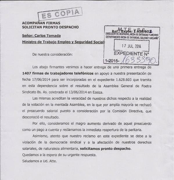 El Telefónico: Presentación en Foetra y el Ministerio de Trabajo.