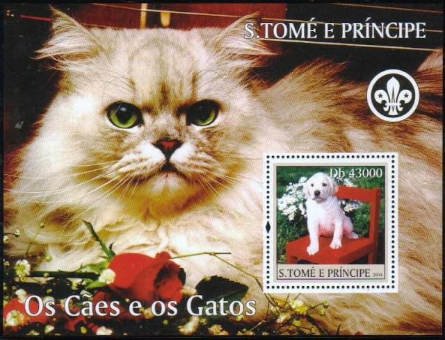 2004年サントメ・プリンシペ民主共和国 ラブラドール・レトリーバーの子犬と猫の切手シート