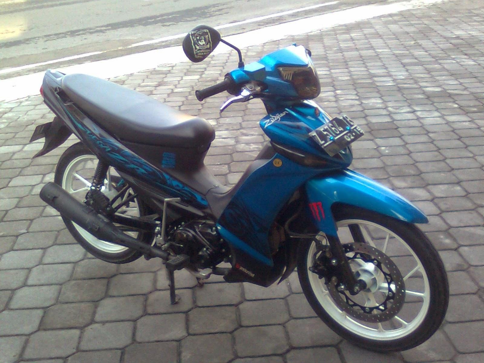 modifikasi motor yamaha vega zr biru
