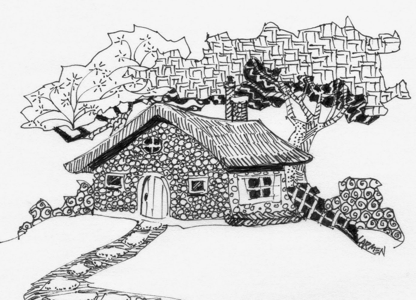 Fairy Cottage 8x10 Pen And Ink Drawing Zentangle Inspired