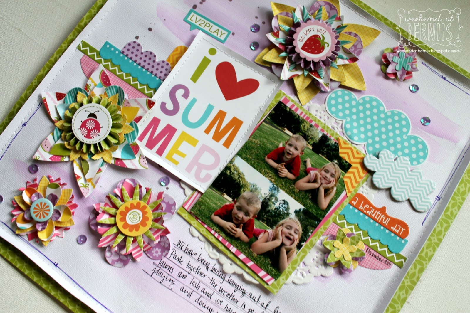 I love summer layout by Bernii Miller using Bella Blvd collection.