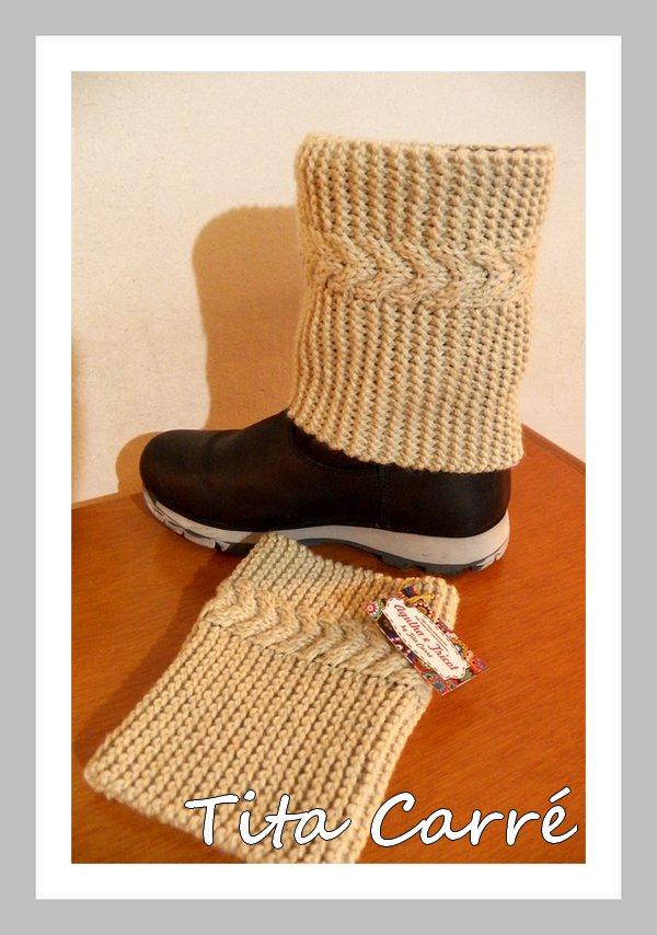 Boot Cuff com ponto trançado em 3 D em tricot