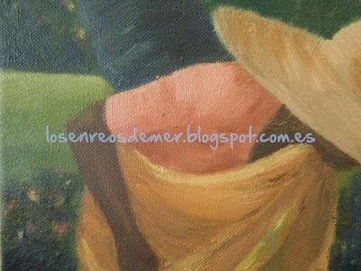 Detalle de Mujer recogiendo flores - Óleo sobre lienzo