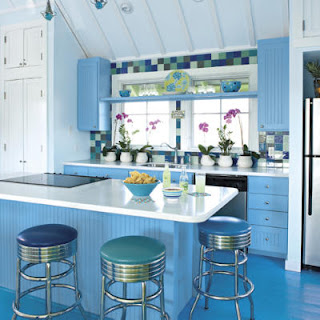 beautiful blue kitchen cabinets