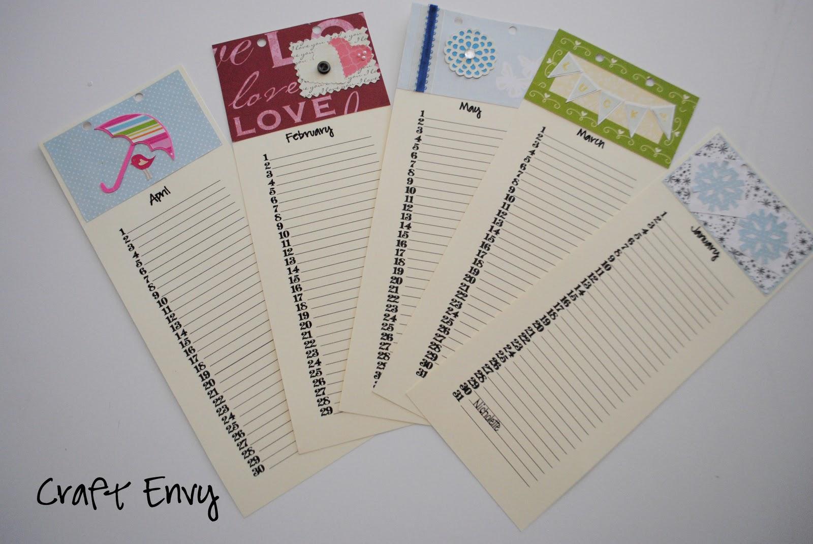 Diy Birthday Calendar : Craft envy diy birthday calendar