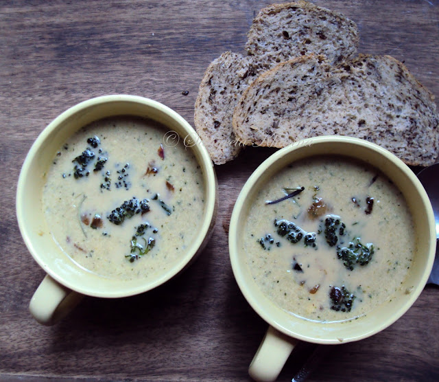 Broccoli and cheese in a creamy soup...