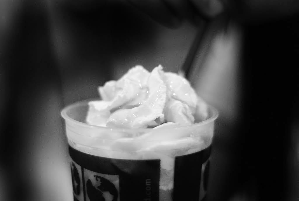 Iced Coffee with Whip Cream in black and white photo