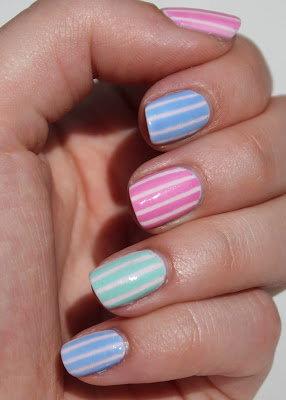 Essie Pastel Stripes Nail Art