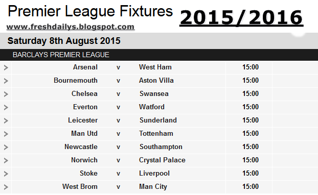 English premier league 2015 2016 latest fixtures view list for League table 2016
