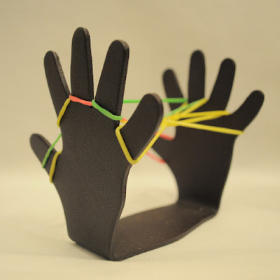 rubber bands stretched between two metal hands