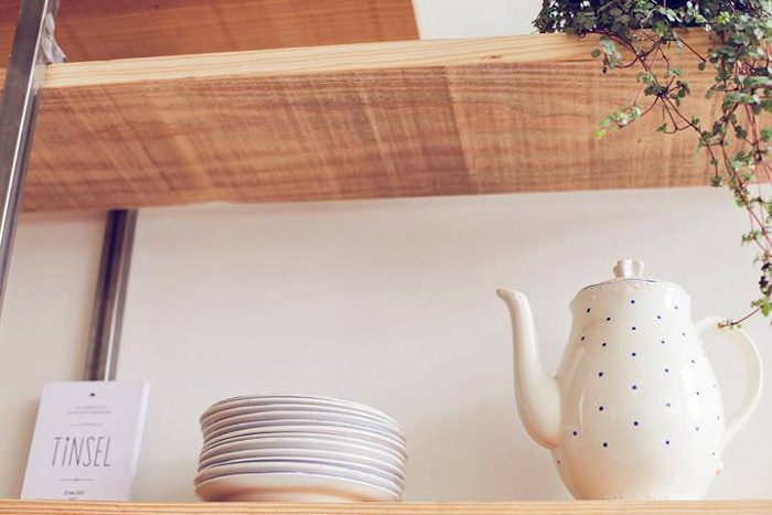 ceramic on wooden shelves