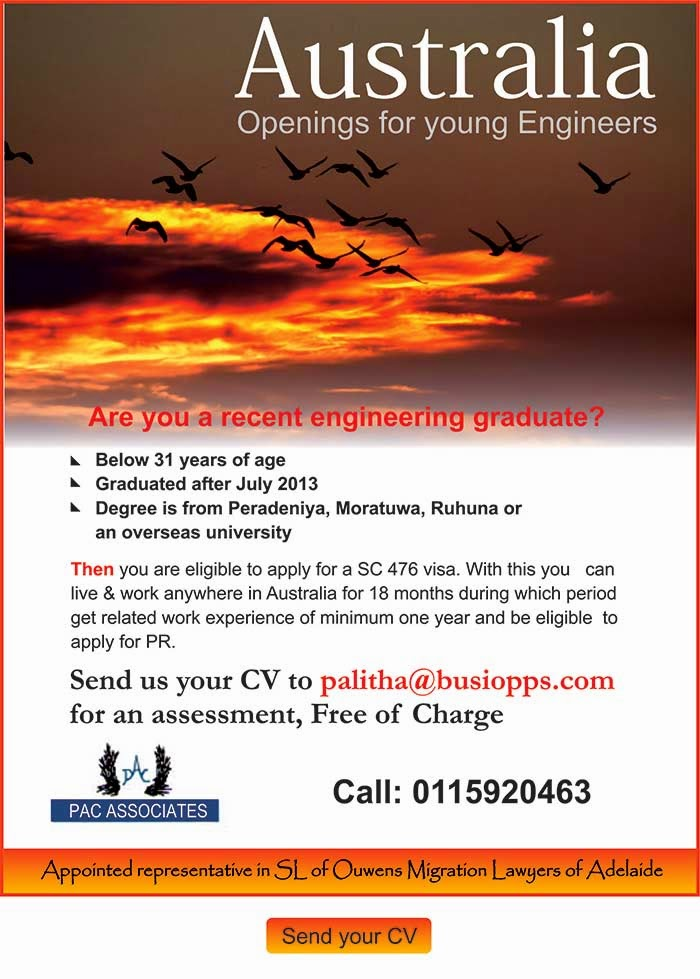 Australia - openings for young engineers.