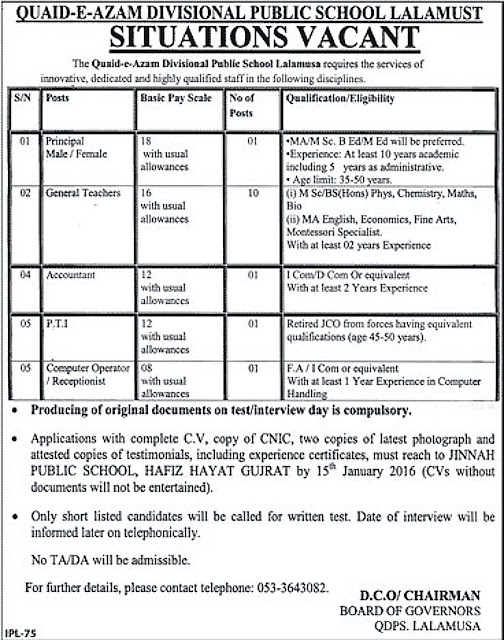 Jobs in Quaid E Azam Divisional Public School Lalamusa