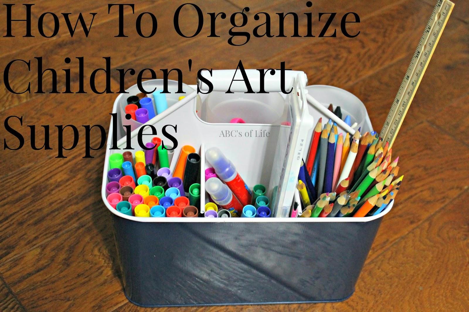 how to organize children 39 s art supplies ashley nicole designs. Black Bedroom Furniture Sets. Home Design Ideas