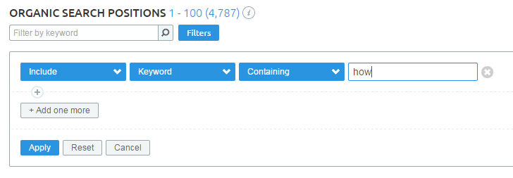 search filter settings for generating informational keywords