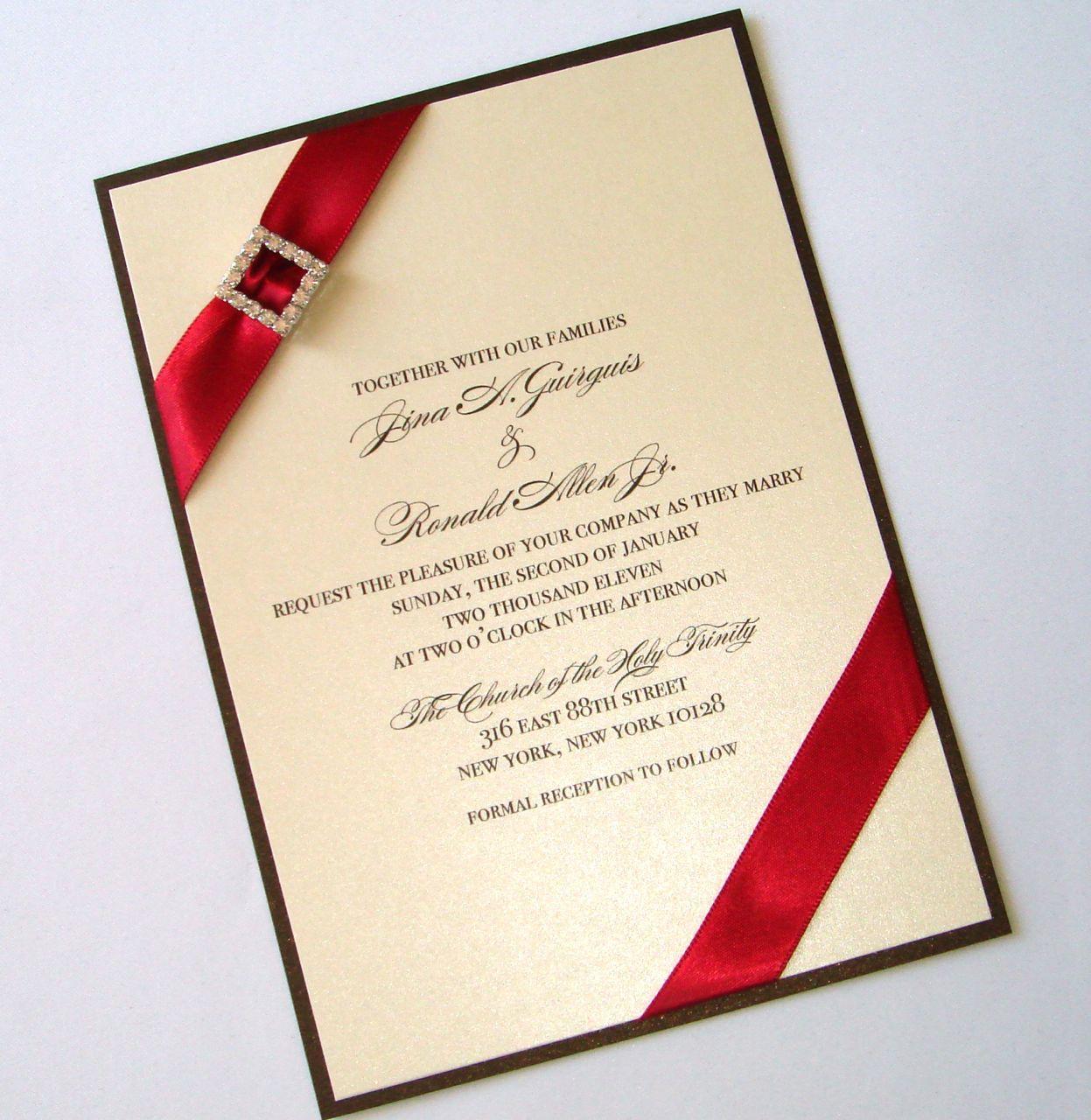 Custom Ivory Chocolate And Red Crystal Embellished Wedding Invitations: Chocolate Ivory Wedding Invitation At Reisefeber.org