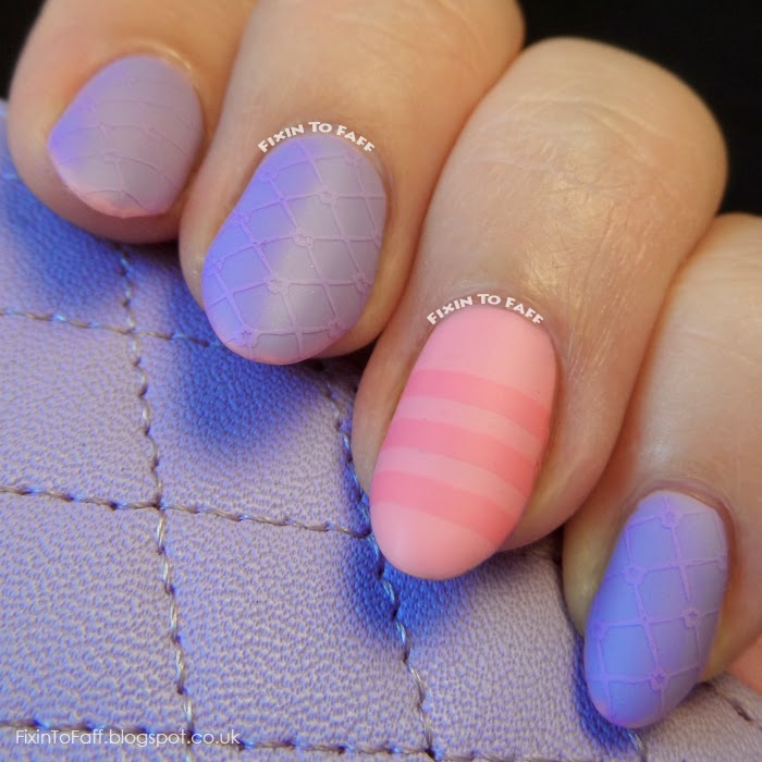 Lavender quilted phone case stamped nail art matte