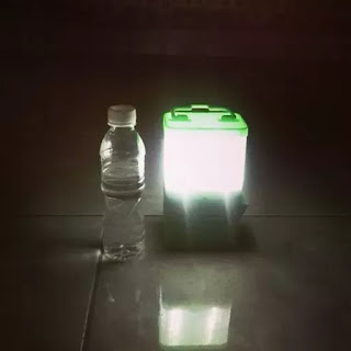 The Salt lamp runs for eight hours on a glass of saltwater