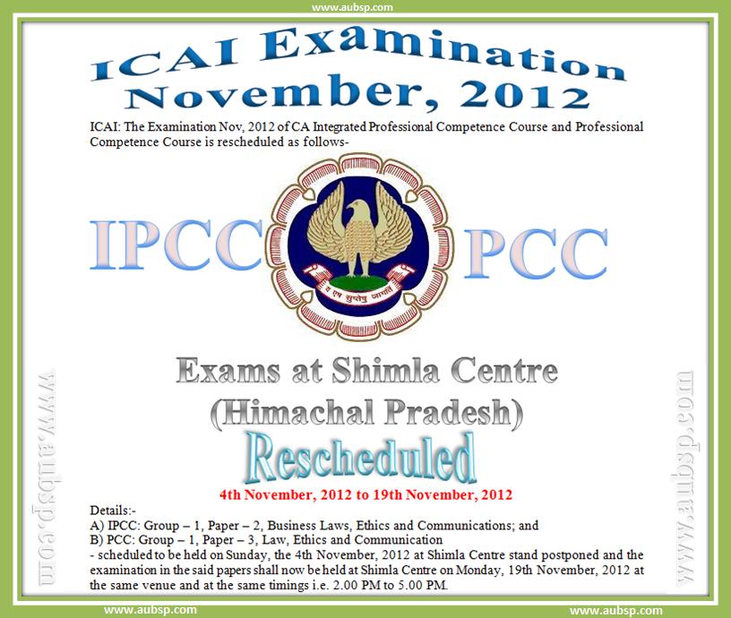 CA IPCC and PCC Exam rescheduled