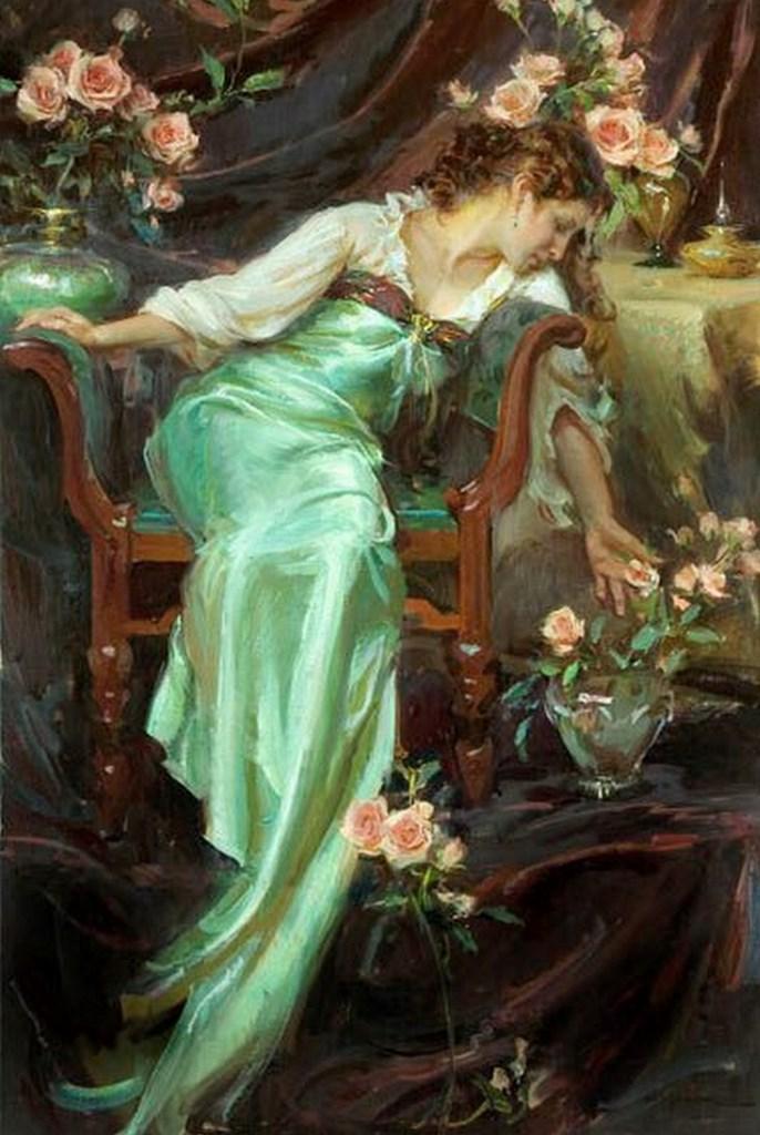 Resultado de imagen para dama y flores oleo