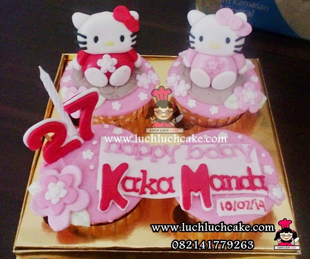 Cupcake Ulang Tahun Tema Hello Kitty Daerah Surabaya - Sidoarjo