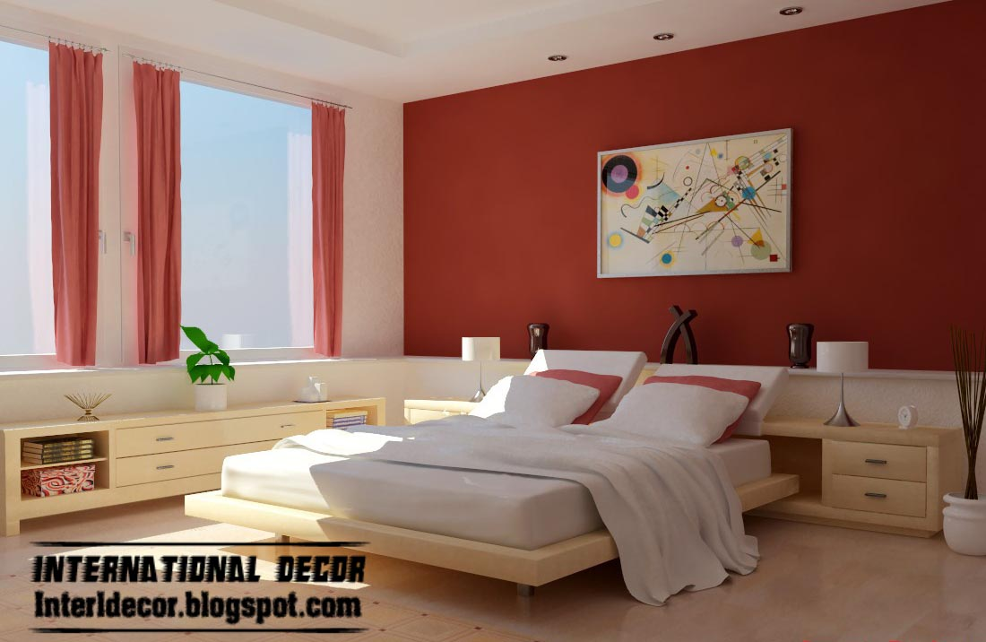 modern red and white bedroom color schemes with red curtains