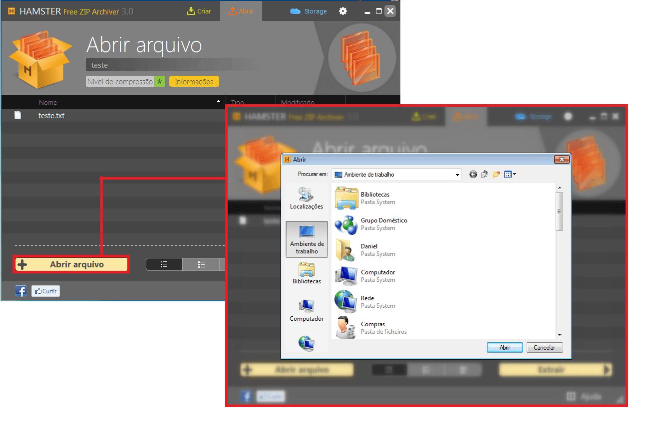Hamster Free ZIP- Abrindo ficheiro ou pasta