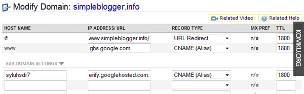 CNAME settings custom domain blogspot
