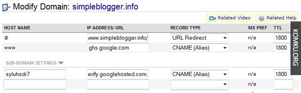 CNAME settings custom domain blogspot