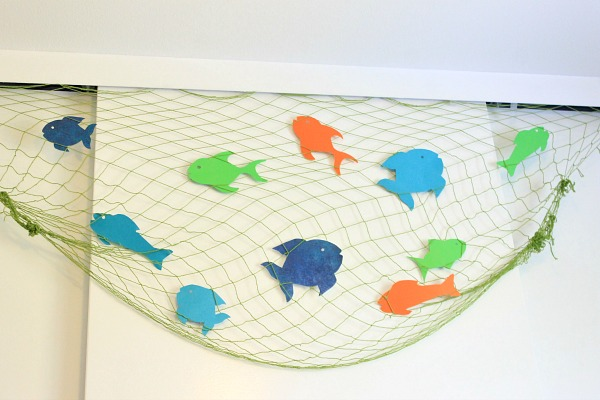 Nautical boy's room tour! colorful fish cut out of scrapbook paper