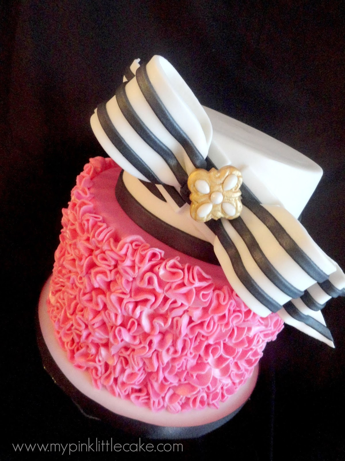 Pink Little Cake Pink Ruffles and Black stripes Birthday Cake