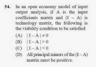 2012 December UGC NET in Economics, Paper III, Question 54