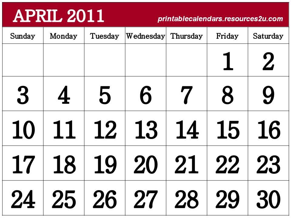 calendar 2011 printable. Free Printable Calendar 2011