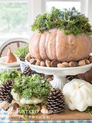 http://missmustardseed.com/2015/10/a-harvest-table-a-dough-bowl-succulent-pumpkins/