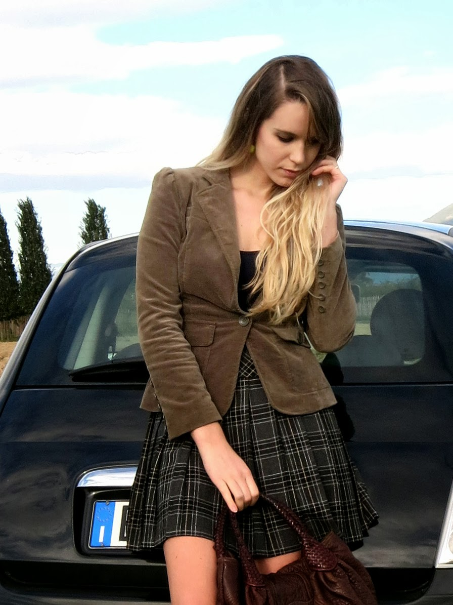 velvet jacket, pleated skirt